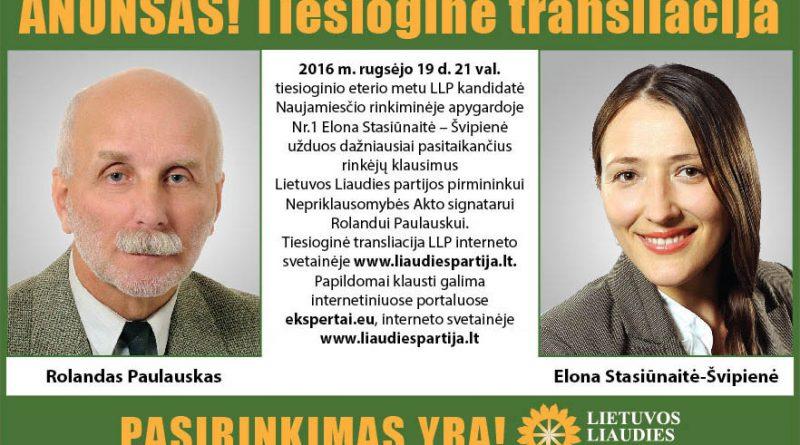 LLP pirmininko Rolando Paulausko atsakymai į rinkėjų klausimus tiesioginio eterio metu.