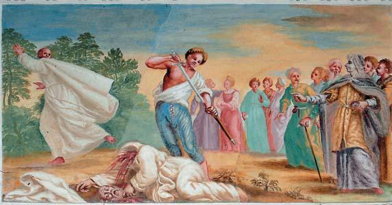 Šv. Brunono Bonifaco nužudymas. Pažaislio vienuolyno freska, dail. Mikelandželas Palonis (Michelangelo Palloni)